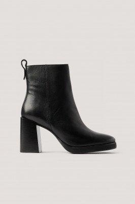 NA-KD Shoes Leren Platformlaarzen - Black