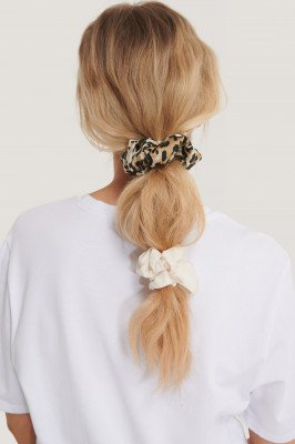 NA-KD Accessories 2-Pack Leo Mix Scrunchies - Brown,White,Multicolor