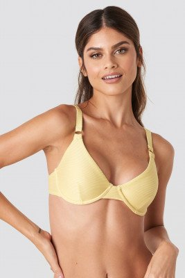 NA-KD Swimwear NA-KD Swimwear Ribbed O-ring Bikini Cup Bra - Yellow