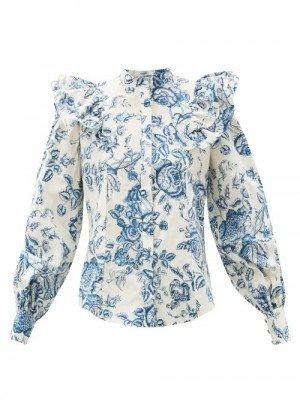 Matchesfashion Erdem - Caterina Toile De Jouy-print Cotton-poplin Blouse - Womens - Blue Multi