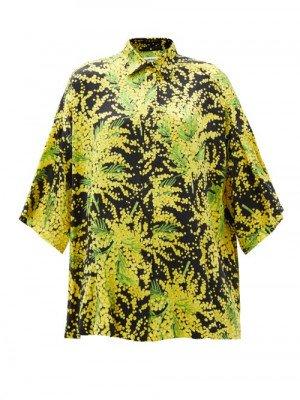 Matchesfashion Balenciaga - Floral-print Oversized Silk-faille Shirt - Womens - Yellow Print