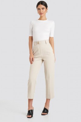 NA-KD Classic NA-KD Classic Gold Button Suit Pants - White,Beige