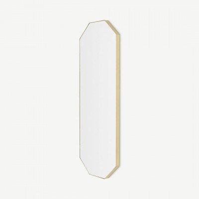MADE.COM Arles 8-hoekige passpiegel, 40x120 cm, geborsteld messing