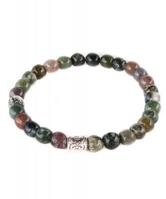 Profuomo Profuomo heren rood groene indian agaat armband