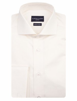 Cavallaro Napoli Cavallaro Napoli Heren Overhemd - Matrimonio Plain Overhemd - Off white