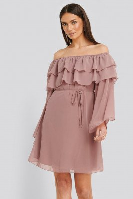 Trendyol Tulum Ruffle Detail Dress - Pink