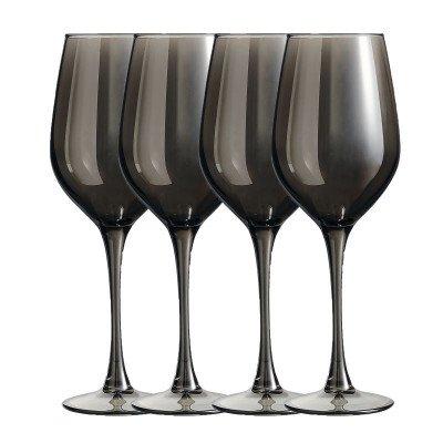Xenos Wijnglazen grijs - 35 cl - set van 4