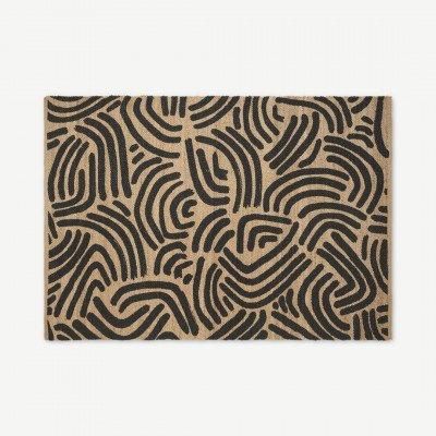 MADE.COM Bunji geprint jute vloerkleed, groot, 160 x 230 cm, houtskoolgrijs
