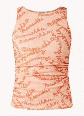 Nanushka Nanushka Fifi mouwloze top met tekstprint en plooidetail