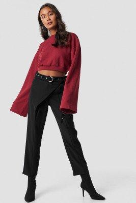 Ivana Santacruz X NA-KD Ivana Santacruz X NA-KD Front Overlap Pants - Black