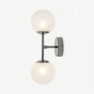 MADE.COM Globe wandlamp, zwart nikkel en matglas