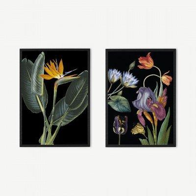 MADE.COM Natural History Museum, 'Dark Floral, set van 2 ingelijste prints (meer formaten beschikbaar)