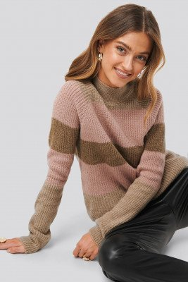 NA-KD NA-KD Raglan Sleeve Striped Knitted Sweater - Multicolor