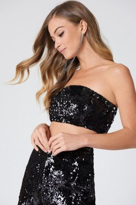 NA-KD Party Sequins Bandeau Top - Black
