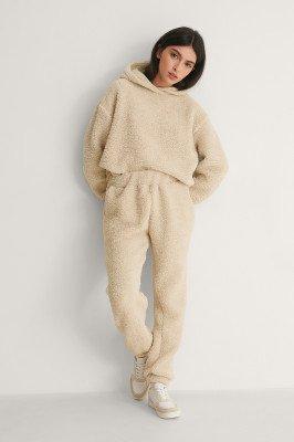 NA-KD NA-KD Gerecycleerd Gerecycled Teddy Sweatpants - Beige