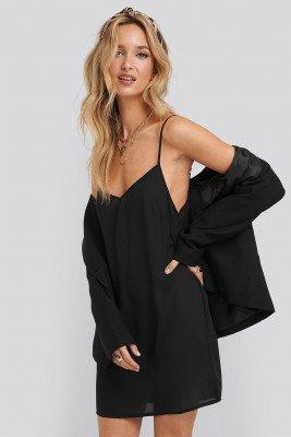 NA-KD Basic Woven Basic Dress - Black