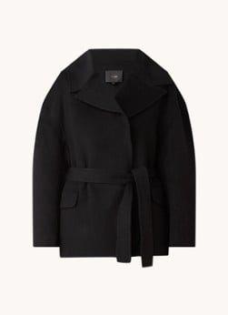 Maje Maje Glasson oversized mantel in wolblend met strikceintuur