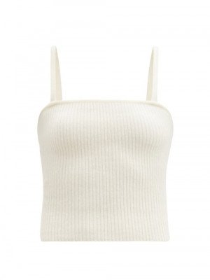 Matchesfashion Lisa Yang - Claire Square-neck Ribbed-cashmere Top - Womens - Cream