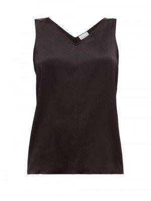 Matchesfashion Raey - High V-neck Silk Cami Top - Womens - Black