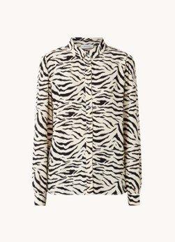 Modström Modström Ibu blouse met zebraprint en pofmouw