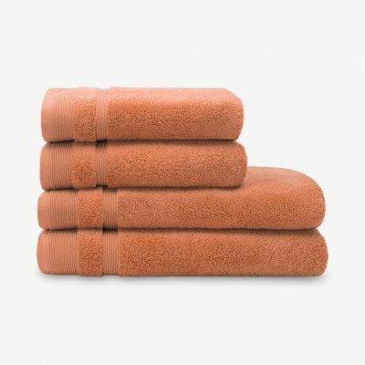 MADE.COM Selona set van 4 zero-twist handdoeken, roze