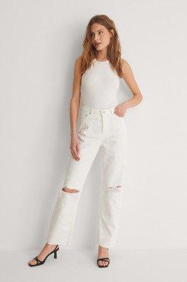 NA-KD Trend NA-KD Trend Organisch Rechte Versleten Jeans Met Hoge Taille - White