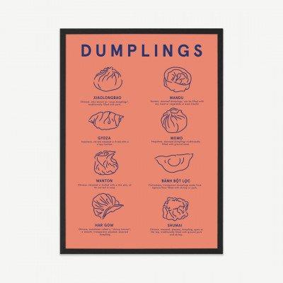 MADE.COM Violet Studio, 'Dumpling Menu', ingelijste print (meer formaten beschikbaar)