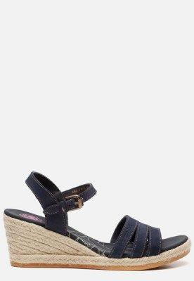 Panama Jack Panama Jack Isa B802 sandalen met sleehak blauw