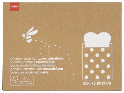 HEMA HEMA Papieren Boterhamzakjes - 25 Stuks (Brown)