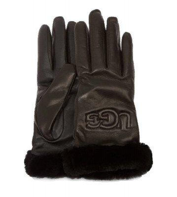 UGG UGG Classic Leather Logo Zwart Dames Handschoenen