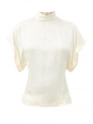 Matchesfashion Raey - High-neck Fold-sleeve Silk-satin Top - Womens - Ivory