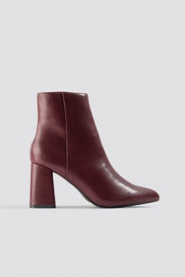NA-KD Shoes NA-KD Shoes Basic Block Heel Booties - Red