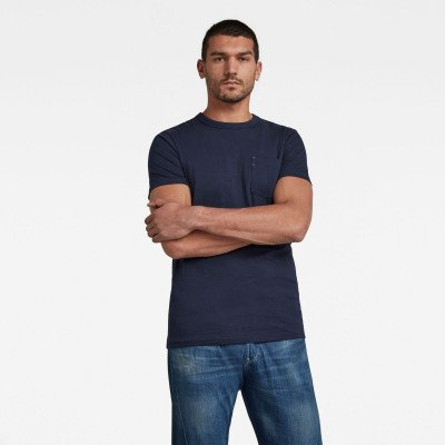 G-Star RAW Contrast Mercerized Pocket T-Shirt - Donkerblauw - Heren