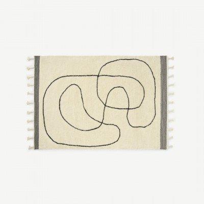 MADE.COM Elysian wollen vloerkleed, groot 160 x 230 cm, roomwit