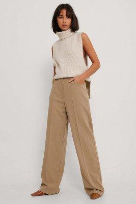 NA-KD Trend NA-KD Trend Pantalon Met Wijde Pijpen - Beige