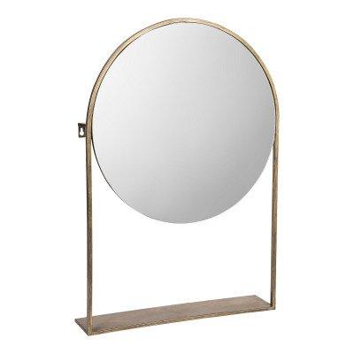 Firawonen.nl Mika iron mirror on iron base round