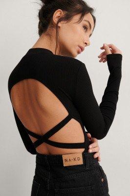 NA-KD Trend NA-KD Trend Geribde Body Met Bandjes - Black