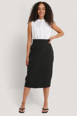 NA-KD Classic NA-KD Classic Tailored Overlap Midi Skirt - Black