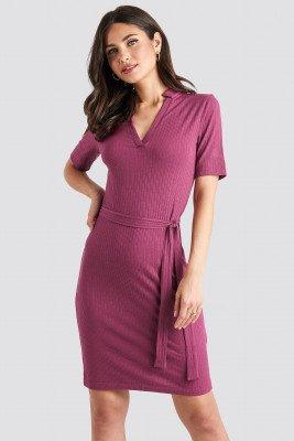 NA-KD NA-KD V-Neck Jersey Midi Dress - Purple