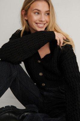 Lisa-Marie Schiffner x NA-KD Lisa-Marie Schiffner x NA-KD Organisch Gebreid Vest - Black