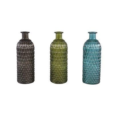 Ptmd nyka glass blauw kleuren flessen set van 3