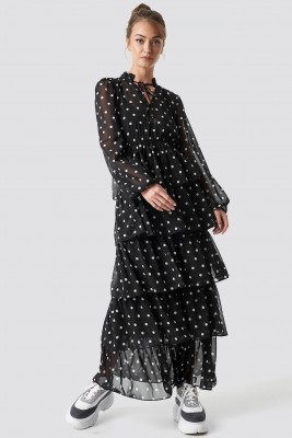 Camille Botten x NA-KD Camille Botten x NA-KD Dotted Frilled Maxi Dress - Black