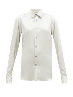 Matchesfashion Connolly - Club-collar Silk-blend Satin Shirt - Womens - Light Grey