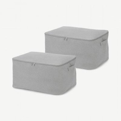 MADE.COM Ponting set van 2 stoffen opbergkoffers, zilvergrijs en donkerturkoois
