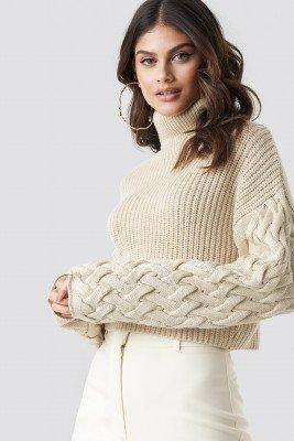 Tina Maria x NA-KD Tina Maria x NA-KD Sleeve Detail Knitted Sweater - Beige
