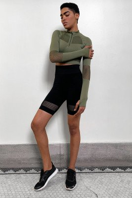 nu-in High Waist Mesh Shorts / L / Black