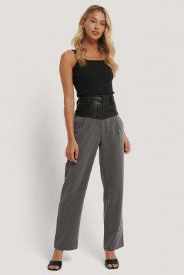 NA-KD Trend NA-KD Trend Pantalon Met Pu-Detail - Grey