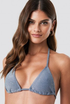NA-KD Swimwear Sparkle Triangle Bikini Top - Blue