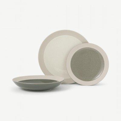 MADE.COM Jaela 12-delig serviesset met spikkelglazuur, zand en groen