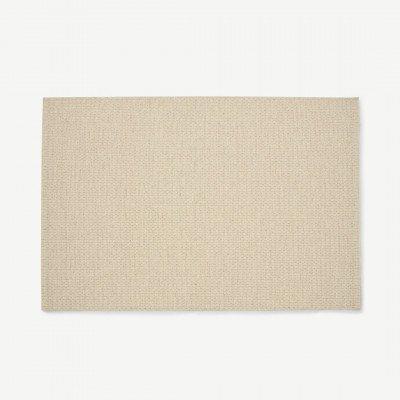 MADE.COM Mellis geweven vloerkleed, wolmix, groot, 160 x 230 cm, lichtbeige geblokt